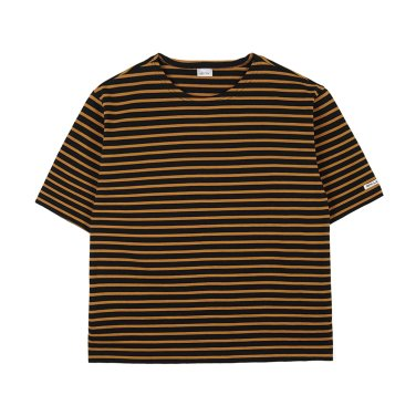 NOCLAIM Boat-neck Basque Slit Shirt Black x Camel