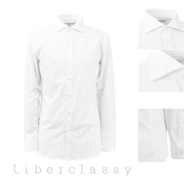 리버클래시(DJ) 화이트 와이드카라 사방스판 구김없는 슬림핏 셔츠 LFW31390