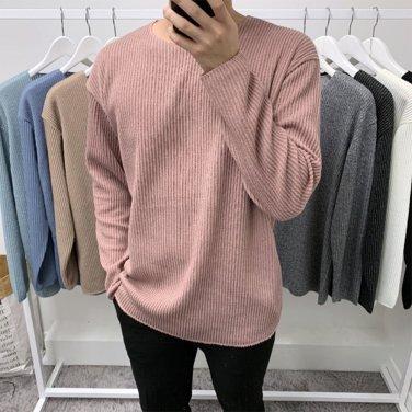 남성 오버핏 골지 라운드 심플 긴팔 니트 티셔츠_T0400