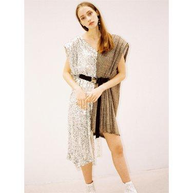 [더애쉴린]ROMANE POWER SHOULDER SEQUINED DRESS