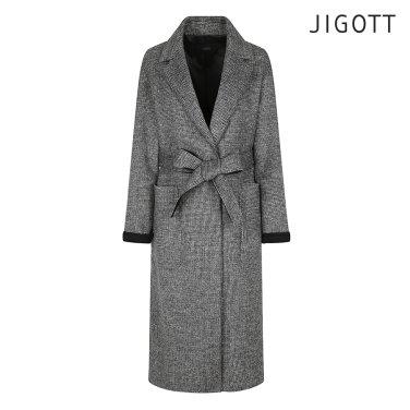 오버핏 배색 체크 울 코트 JIAE0CT51