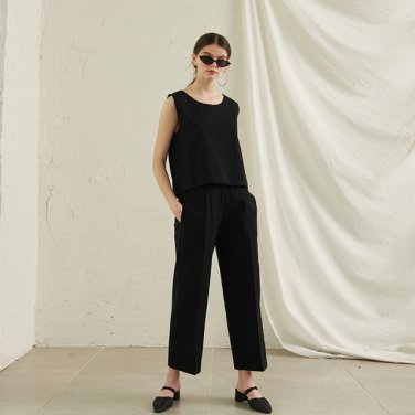 Abell Cotton Wide Pants _ Black