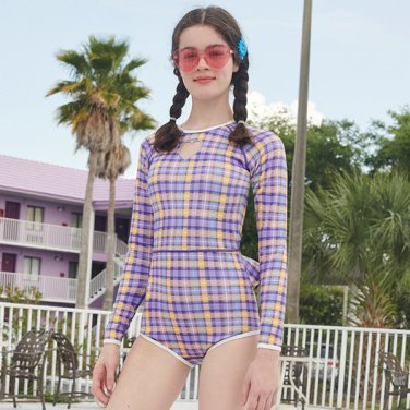 (OP-19371) LONG SLEEVE CHECK SWIMSUIT VIOLET