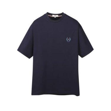 다크네이비 순면 자수장식 라운드 반팔 티셔츠 JNTS9B810N3