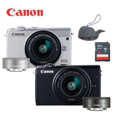 EOS M100 15-45mm + 22mm 더블렌즈 KIT + SD16G 메모리 + 정품가방 / 블랙 / 화이트