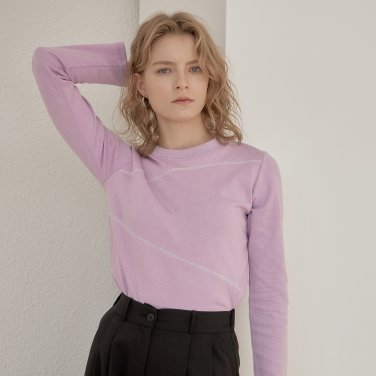 DIAGONAL LINE T-SHIRT_LIGHT PURPLE