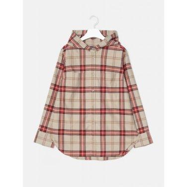 [GREEN BEANPOLE] 베이지 체크 브러시드 후드 셔츠 (BF9964N02A)
