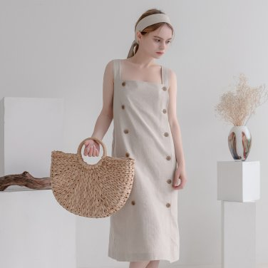 Overall Button Herringbone Dress Beige(2019SUOP320_05)