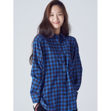 여성 블루 체크 옷핀 장식 셔츠 (168864WY5P)