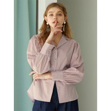 [에프코코로미즈] puff sleeve button p check blouse