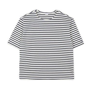 NOCLAIM Boat-neck Basque Slit Shirt Ivory x Navy