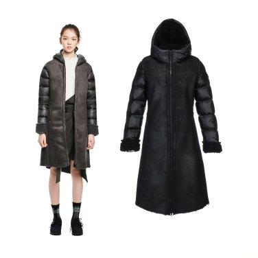 [옷걸이증정]여성 페이크 무톤 미드 다운자켓(JKJDW18652BLK,DGY)