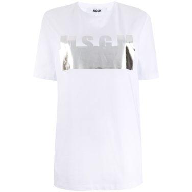 20SS MSGM 실버 로고 티셔츠 여성 2841MDM180
