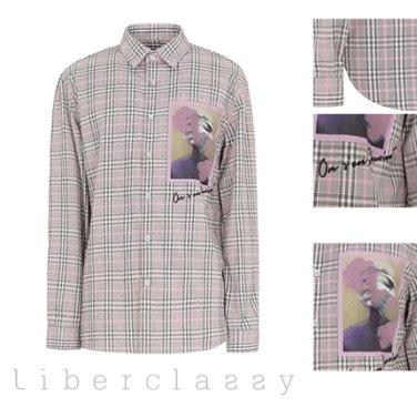 리버클래시(DJ) 핑크 글렌체크 그래픽 패치 포인트 셔츠 LFW31354