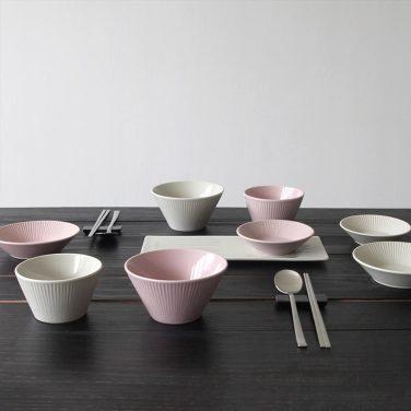 로얄애덜리 모노톤 2인 9p 그릇세트 (크림&핑크)