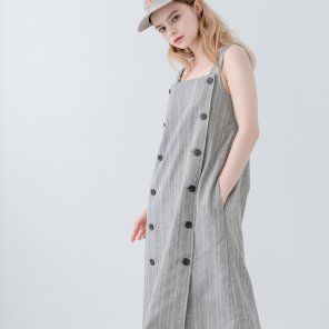 Overall Button Herringbone Dress Charcoal(2019SUOP320_04)