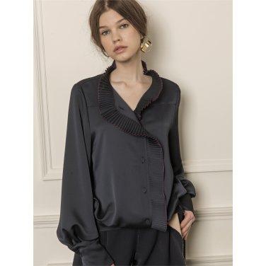 [까이에] Accordion-pleated ruffle blouse