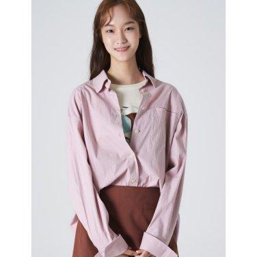 여성 라벤더 코튼 오버사이즈 포켓 셔츠 (169864JY1T)