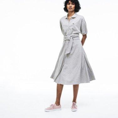여성 벨티드 소프트 코튼 폴로 셔츠 원피스EF3089-19BCCA