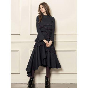 [까이에] Accordion-pleated ruffle dress