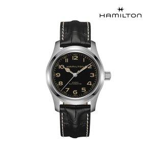 H70605731 카키 필드 머피 오토 42mm 블랙 가죽 남성 시계