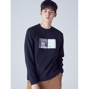 남성 블랙 실사 프린트 라운드넥 티셔츠 (268841WY55)