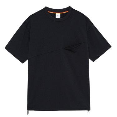 S/S 사선포켓 블랙 라운드 티셔츠 PXIGR8011.IM