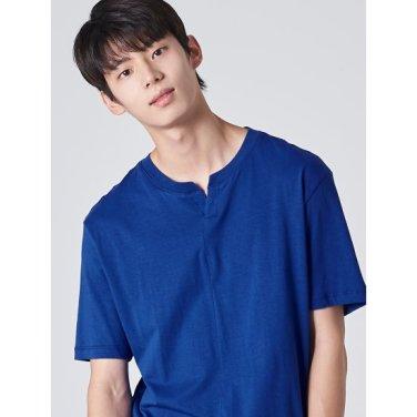 남성 블루 솔리드 슬럽 코튼 절개 라인 티셔츠 (429742BY2P)