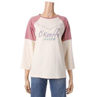 [여성]소매 배색 그래픽 티셔츠(T192MTS136W)