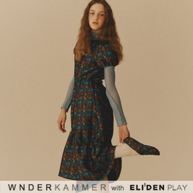 [분더캄머:WNDERKAMMER] Flower Jacquard Dress_Blue (WK9W1-FJOP070)