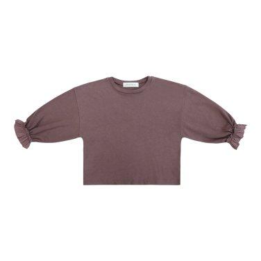 소매 셔링 러플 티셔츠