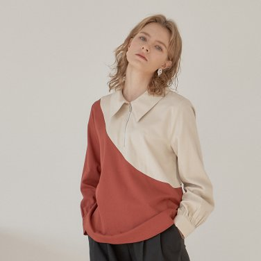 DIAGONAL LINE SHIRT_BRICK