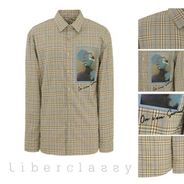 리버클래시(DJ) 브라운 글렌체크 그래픽 패치 포인트 셔츠 LFW31353