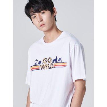 남성 [라이온킹] 화이트 코튼 포인트 프린팅 반소매 티셔츠 (429742LX41)