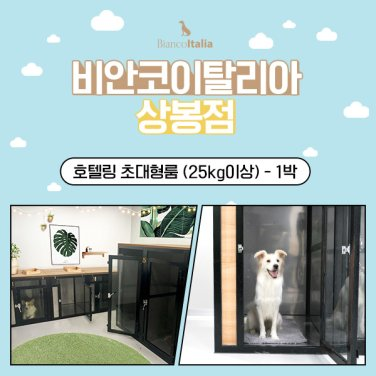 [비안코이탈리아상봉점]강아지 호텔링 초대형룸 25kg이상 1박