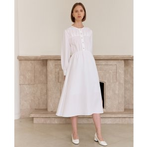 PLEATED LONG ONEPIECE_WHITE