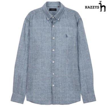 블루 체크 린넨 캐주얼셔츠 HZSH9B402B2