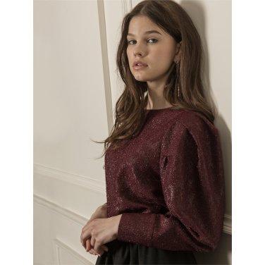 [까이에] Voluminous sleeves shiny blouse