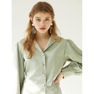 [에프코코로미즈] puff sleeve button p olive blouse