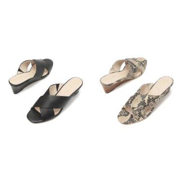 [Adley Grand Wedge Sandal 50mm] 패턴 여성 가죽 슬리퍼 CHSO9E223