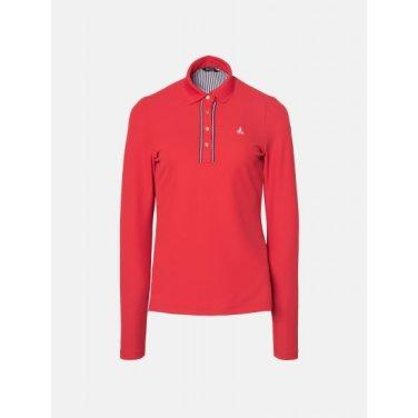 여성 레드 넥라인 포인트 티셔츠 (BJ9241A206)