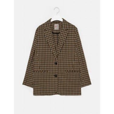 여성 옐로이시 브라운 타탄체크 투버튼 재킷 (329811LY2B)