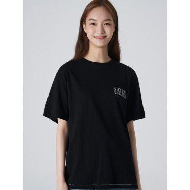 여성 블랙 솔리드 백 그래픽 스티치 반소매 티셔츠 (329742LYM5)