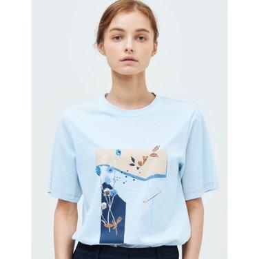 스카이 블루 플로럴 그래픽 자수 티셔츠 (BF9342U12Q_)