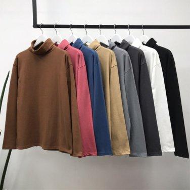 남성 여성 10수 오버핏 심플 코튼 8컬러 폴라 티셔츠_T0540