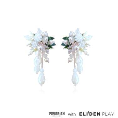 [피버리쉬] FLOWER BLAST LARGE DROP EARRINGS-WHITE (FB2E1)