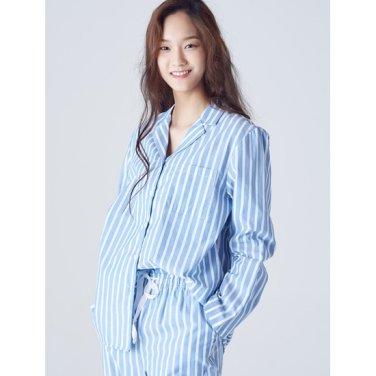 여성 [파자마 시리즈] 블루 스트라이프 코튼 파자마 셔츠 (158864SYAP)