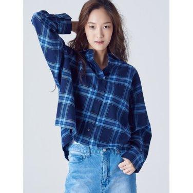 여성 블루 코튼 플란넬 체크 루즈핏 셔츠 (358864CY4P)