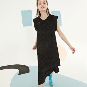 블랙 롱 드레스