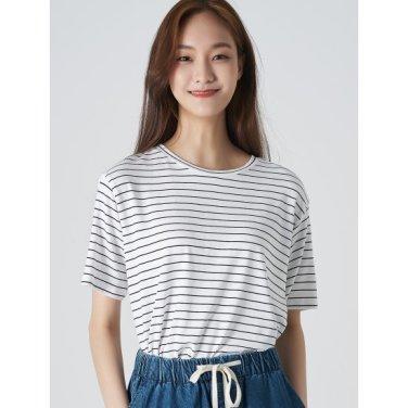 여성 아이보리 스트라이프 라운드넥 반소매 티셔츠 (329742LY50)